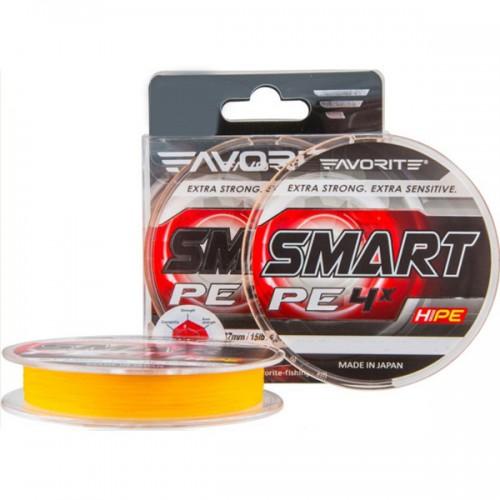 Шнур Favorite Smart PE 4*150m (оранж.) #1.5/0.209мм 17LB 7.8кг